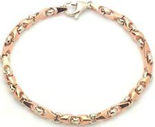 "14k Two Tone Gold Handmade Fashion Link Bracelet 8.75"" 5mm 15.3 grams"