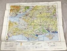1969 Vintage Military Map of England South Coast Topographical Flight Chart RAF