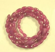 """NATURAL RUBY faceted rice beads AAA  8-17.5mm 23.5"""" strand"""