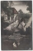 VISION - Pretty Girl / Reflections / Watermill - Austria - 1918 used postcard