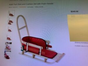 L.L. Bean Large Kids Pull Sled and Cushion Set with Push Handle, Save $85.