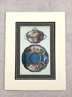 1910 Sevres Porcellana Ecuelle Boucher Chabry Antico Cromolitografia Stampa