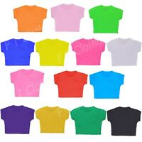 Girls Plain Crop Top Kids Short sleeve Summer T-Shirts Dance Year Age 5-13 Years
