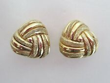 QVC Veronese 18K Gold Over Sterling Silver Textured Knot Clip Earrings 925