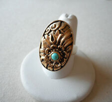 Barse Two Tone Bronze & Turquoise Cabochon Oval Flower Ring size 8   237102