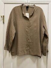 EILEEN FISHER Terra Mandarin Neck Viscose Blend Shirt Size XL