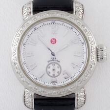 Michele Stainless Steel Diamond CSX Quartz Women's Watch w/ Leather Band