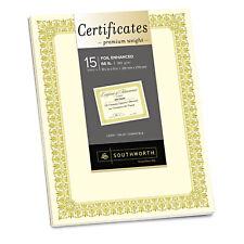 Southworth Premium Certificates Ivory  Fleur Gold Foil Border 66 lb 8.5 x 11 15