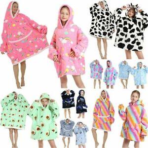 Adult Kid Oversized Hoodie Blanket Plush Warm Big Fleece Soft Winter Pullover