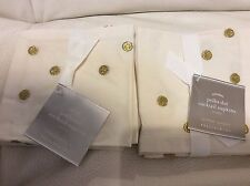 Pottery Barn Polka Dot Embroidered Cocktail Napkins Set of (8) Ivory & Gold New