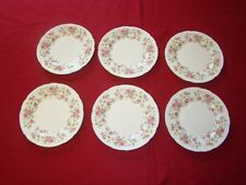 6 x Queen Anne Bone China side plate plates Pink Rose pattern