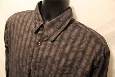 Pronto Uomo 100% Cotton Mens Button Front L/S Casual Shirt Size MT Brown Stripe