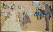 Grand dessin original de Xavier SAGER  1902 violon violoniste élégantes drawing