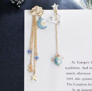 UK Enamel Gold Silver Dangle Boho Cat Pearl Ear Studs Bohemia Earrings Jewelry