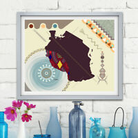 Tanzania Map Art Print Dodoma East African Design Decor Painting Abstract Poster