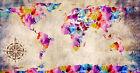"World Map Modern Grunge Watercolor Abstract Art CANVAS PRINT 24""X18"" #1"