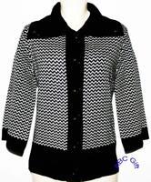 JM Collection Cardigan Sweater Black Chevron Print Collared Button Petite PL NWT