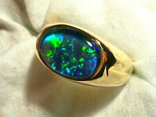 Mens Opal Ring 14ct Yellow Gold, Natural Opal Triplet. 14x10mm Oval . item 80350