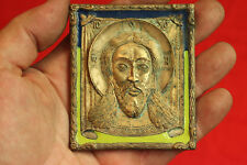 """19c ANTIQUE OLD RUSSIAN BRASS ENAMEL BRONZE ICON """"The Saviour Not Made by Hands"""""""
