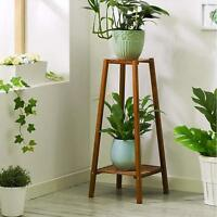 Bamboo 2 Tier Tall Plant Stand Pot Holder Small Space Table Garden Planter