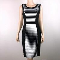 Cache Womens 10 Black White Striped Dress Sleeveless Side Zipper Rayon Blend