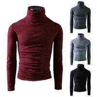 Men Wool Slim Cotton Neck Pullover Jumper Sweater Turtleneck Winter Warm Coat