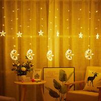 LED Moon Fairy String Curtain Window Light Hanging Christmas Wedding Decor CHZ