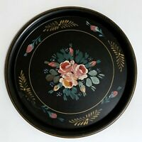 """Round Vintage Hand Painted Tole Tray Toleware Black Floral 16"""""""