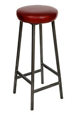 'Bertie Hyde' Steel Frame Industrial Bar Stool with Thick Leather Seat
