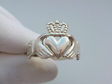 Irish celtic claddagh   silver ring size T approx.