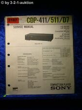 Sony Service Manual CDP 411 / 511 / D7 CD Player (#2187)
