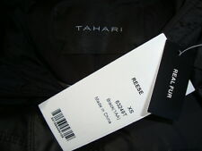 NWT TAHARI *REESE* Detachable Hood Real Rabbit Fur Trim Down Long Coat Sz XS