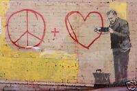 """framed 24""""  Banksy Street Art  print poster canvas doctor love heart"""