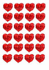 24 Edible cake toppers decorations RED VALENTINES HEART SHAPED ROSES