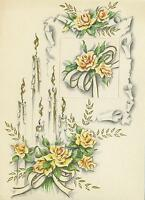 VINTAGE WHITE CANDLES YELLOW ROSES NOUVEAU FLOWERS LITHOGRAPH ART OLD PRINT