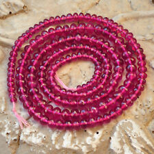 """Pink Rubellite Pink Tourmaline Faceted Rondelle Beads 20.8"""" Strand"""