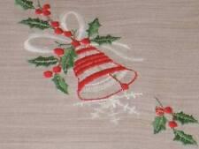 Vintage Christmas Embroidered Single Bell & Holly Hanky Handkerchief Hankies