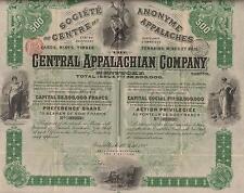 USA CENTRAL APPALACHIAN CO stock certificate 1892 KTY