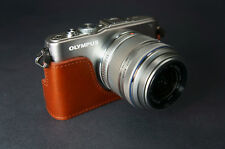 Handmade Vintage Half Leather Case for Olympus EPL3
