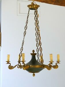 "26"" ANTIQUE French Empire Chandelier RARE Swan 6 Litghts Brass & Bronze 1900"