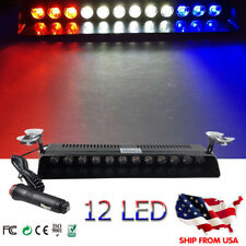 RED WHITE BLUE 12 LED Emergency Strobe Flash Light Bar Warning Signal Roof Bar