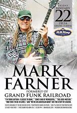 Mark Farner 2016 New York Concert Tour Poster-Hard Rock,Ccm, Grand Funk Railroad