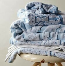 NWT Anthropologie WOVEN OMBRE WASHCLOTH Blue Cotton Jacquard Portugal