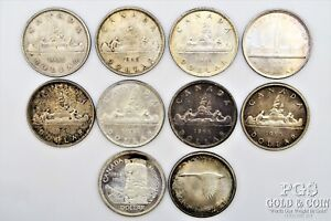 1935-1967 Canada $1 Silver Dollar 10 Silver Coins 21702