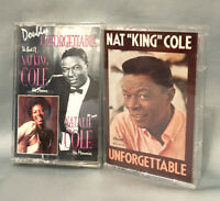 Nat King Cole Unforgettable & with Natalie Cole Doubly 2 Cassettes Songs LOT