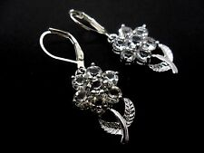 A PAIR OF  PRETTY CRYSTAL FLOWER DANGLY  LEVER BACK HOOK EARRINGS.
