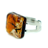 Murano Glass Ring Orange Amber Coloured Square From Venice 1.5cm x 1.5cm