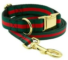 Designer brand red green stripe striped dog collar and leash inspired by Gucci