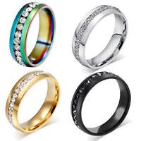 Sz5-13 Men/Women CZ Couple Stainless Steel Wedding Ring Titanium Engagement New