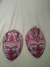 ONE PAIR BEAUTIFUL HAND CARVED WOOD BATIK MASK JAVA ART WALL DECOR ORNAMENT 0102
